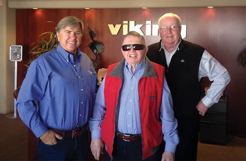 Chris Hall Visiting with the Healeys at Viking Yacht headquarters