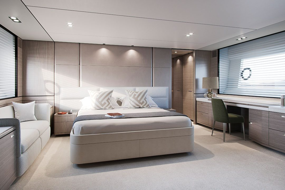 Y78-master stateroom with silver oak finish