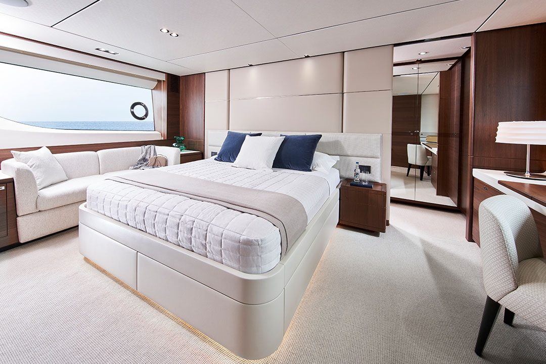 Y78-master stateroom with walnut finish